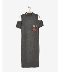 robe moulante à patchs gris anthracite Jennyfer