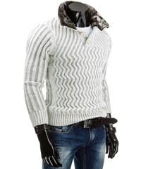 Coolbuddy Teplý bílý pánský svetr 4255 Velikost: XXL