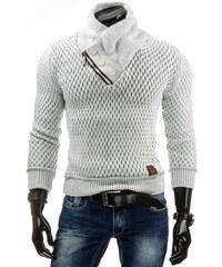 Coolbuddy Bílý svetr se stojatým límcem 4304 Velikost: L