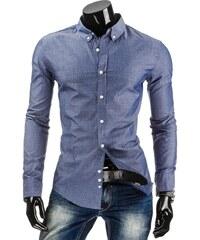 Coolbuddy Pánská modrá puntíkovaná košile s dlouhým rukávem 4758 Velikost: XXL