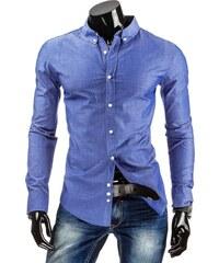 Coolbuddy Azurová puntíkovaná pánská košile s dlouhým rukávem 4760 Velikost: XXL