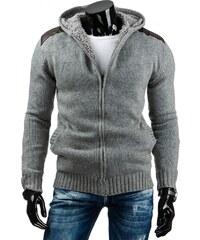Coolbuddy Šedý teplý svetr s kapucí Moll 6483 Velikost: XXL