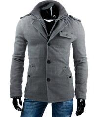 Coolbuddy Šedý pánský kabát s odnímatelným límcem 6768 Velikost: L