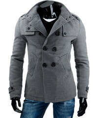 Coolbuddy Pánská šedý dvouřadý kabát Doky 6771 Velikost: L