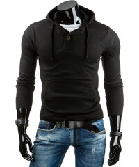 Coolbuddy Pánský černý svetr s kapucí a výstřihem na knoflíky Lung 6922 Velikost: XXL