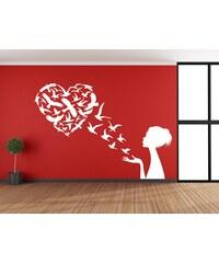 RAWE.CZ - Ptačí srdce - Samolepka na zeď - 100x70cm