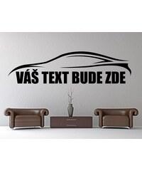 RAWE.CZ - Silueta auta s vaším textem - Samolepka na zeď - 100x26cm