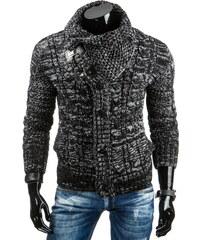 Coolbuddy Pánský melírovaný černý svetr Arny 7040 Velikost: L