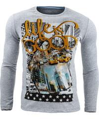 Coolbuddy Šedé pánské tričko s dlouhým rukávem a super potiskem 7127 Velikost: XL