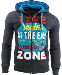 Coolbuddy Pánská mikina na zip s kapucí a potiskem Life Zone 7139 Velikost: L
