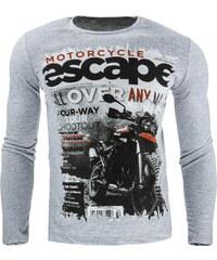 Coolbuddy Bavlněné pánské tričko s dlouhým rukávem a výrazným potiskem 7273 Velikost: L