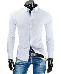 Coolbuddy Bílá pánská košile s dlouhým rukávem a jemným vzorkem 7458 Velikost: XXL