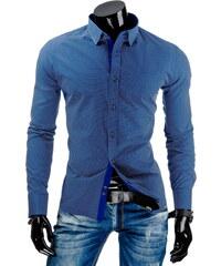 Coolbuddy Modrá pánská košile s dlouhým rukávem a jemným vzorkem 7459 Velikost: XXL