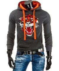 Coolbuddy Pánská mikina s barevnou kapucí a potiskem tyger 7787 Velikost: 3XL