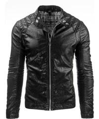 Coolbuddy Pánská bunda z ekologické kůže a prošíváním na ramenou Dany 7966 Velikost: L
