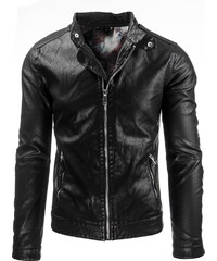 Coolbuddy Klasická pánská černá bunda z ekologické kůže Jessi 7967 Velikost: M