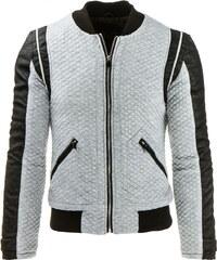 Coolbuddy Pánská šedá bunda s doplňky z eko-kůže Tomy 8027 Velikost: XL