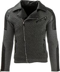 Coolbuddy Pánská antracitová bunda s asymetrickým zipem Oliver 8029 Velikost: XL