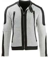 Coolbuddy Pánská šedá bunda s aplikací eko-kůže Zoro 8030 Velikost: M