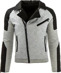 Coolbuddy Pánská šedo černá bunda s asymetrickým zipem Brandon 8033 Velikost: M