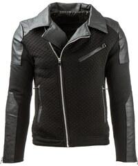 Coolbuddy Černá pánská bunda s asymetrickým zipem Maxim 8035 Velikost: S