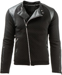 Coolbuddy Pánská černá prošívaná bunda s asymetrickým zipem Max 8037 Velikost: M