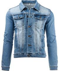 Coolbuddy Světle modrá pánská džínová bunda Lucky 8083 Velikost: S