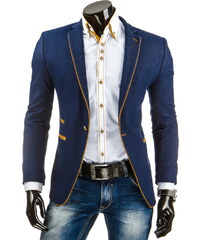Coolbuddy Tmavě modré pánské sako s pískovým lemováním a zlatým knoflíkem Ben 8071 Velikost: XXL