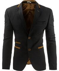 Coolbuddy Pánské černé sako s hnědým lemováním Kurt 8270 Velikost: XL