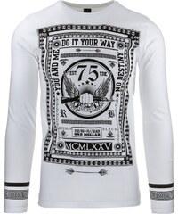Coolbuddy Bílé tričko s černým potiskem a dlouhým rukávem Way 8310 Velikost: M