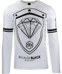 Coolbuddy Bílé pánské tričko s dlouhým rukávem a velkým potiskem Diamant 8313 Velikost: XXL