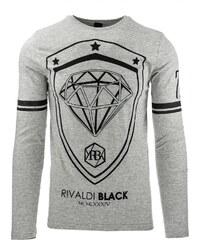Coolbuddy Pánské šedé tričko s dlouhým rukávem a velkým potiskem Diamant 8314 Velikost: XXL