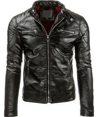 Coolbuddy Černá pánská bunda z ekologické kůže a prošíváním Sany 8394 Velikost: S