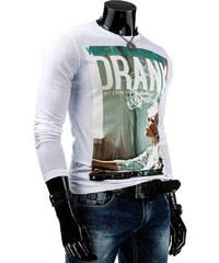 Coolbuddy Bílé bavlněné pánské tričko s dlouhým rukávem a super potiskem 3813 Velikost: XXL
