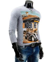 Coolbuddy Pánské šedé tričko s dlouhým rukávem a barevným potiskem 3823 Velikost: XXL