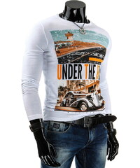 Coolbuddy Bílé pánské tričko s dlouhým rukávem Road 3824 Velikost: L