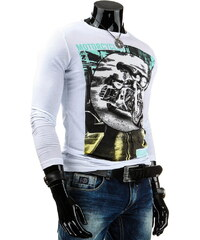 Coolbuddy Bílé pánské tričko s dlouhým rukávem a potiskem 3805 Velikost: XXL