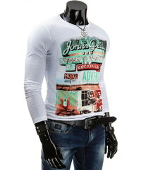 Coolbuddy Bílé pánské tričko s dlouhým rukávem a barevným potiskem 4079 Velikost: L