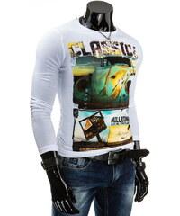 Coolbuddy Bílé bavlněné pánské tričko s dlouhým rukávem a potiskem 4069 Velikost: XL