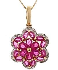 KLENOTA Zlatý rubínový přívěsek s diamanty