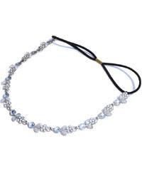 Čelenka na gumičce s kytičkami stříbrná C04903