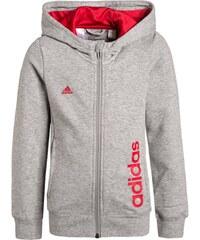 adidas Performance ESSENTIALS Sweatjacke medium grey heather/ray red