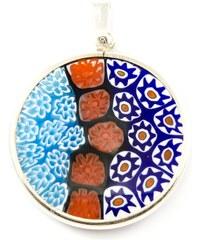 Murano Přívěsek skleněný - stříbro 925 - modrá, červená - Millefiori 26