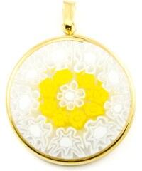 Murano Přívěsek skleněný - pozlacené stříbro 925 - bílá, žlutá - Millefiori 26
