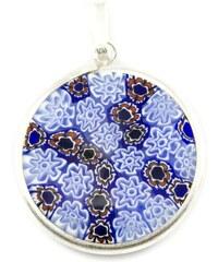 Murano Přívěsek skleněný - stříbro 925 - červená, modrá - Millefiori 23