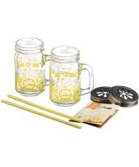 KILNER Dárkový set dvou sklenic na limonádu (+víčko a slámka)