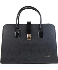 Elegantní šedo-černá aktovková kabelka S485 GROSSO