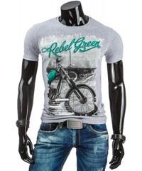 Pánské tričko Rebel green šedé - šedá