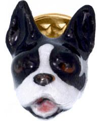 Nach Bijoux Broche En Laiton Rhodié & Porcelaine - Bulldog