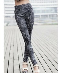 LM moda Legíny vzorované leopard šedý